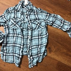 Girls Justice size 8 button down plaid top
